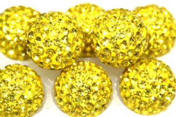 12mm Bright Yellow 130 Stone  - Pave Crystal Beads - Half Drilled  PCBHD12-130-016